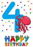 fourth birthday cartoon card