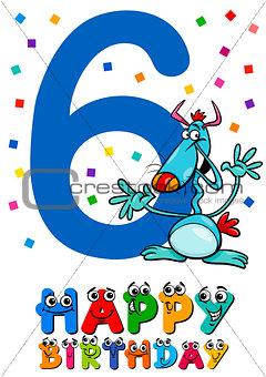 sixth birthday cartoon card design