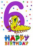 sixth birthday cartoon card