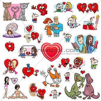 valentine cartoons set