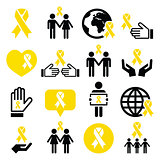 Yellow ribbon icons - suicide prevention, support for troops, adoptive parents symbol