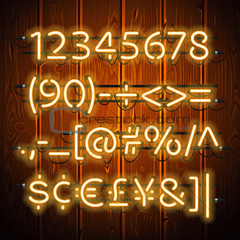Glowing Neon Numbers on Wooden Background