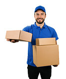 delivery courier giving cardboard shipping box. isolated on whit