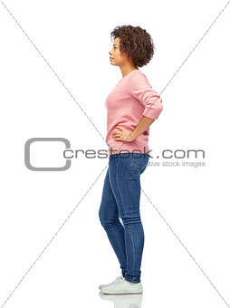 african american young woman over white