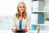 businesswoman or student with tablet pc at office