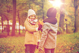 smiling children in autumn park