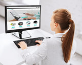 businesswoman with online shop on office computer