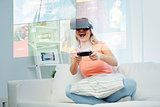 woman in virtual reality headset with controller