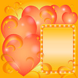 Background, Valentine hearts and frame