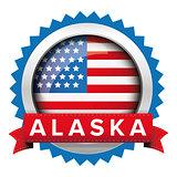 Alaska and USA flag badge vector