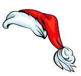Cartoon Santa hat isolated on white