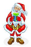 Friendly Santa Claus with gift box
