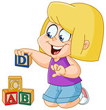 Girl with alphabet blocks
