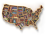 USA education or market of books concept.