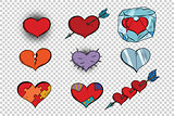 set of Valentine hearts on a transparent background