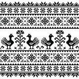 Ukrainian or Belarusian, Slavic folk art knitted black embroidery pattern with birds