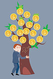 Businessman hugging a money tree