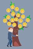 Businessman hugging a money tree