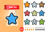 Star vector illustration set on white background. A cartoon style.
