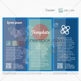 Brochure mock up design template for business, education, advertisement. Trifold booklet editable printable vector illustration. The bright blue color.