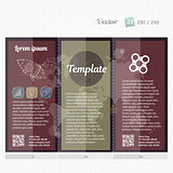 Brochure mock up design template for business, education, advertisement. Trifold booklet editable printable vector illustration. Bright color c glitter effect.