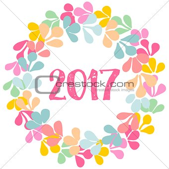2017 laurel wreath frame isolated on white background