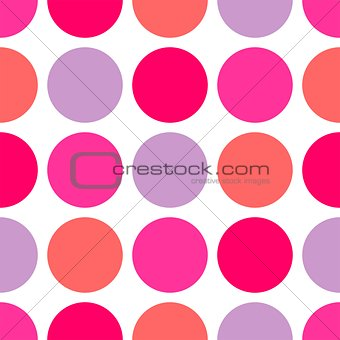 Tile vector pattern with big polka dots on white background