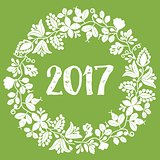 2017 white vector wreath on green background
