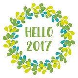Hello 2017 green vector wreath isolated on white background