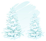 Two Christmas trees in snow