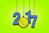 Tennis ball  and 2017 hanging on strings