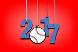 Baseballl  and 2017 hanging on strings