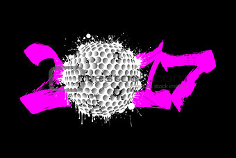 Abstract number 2017 and golf ball