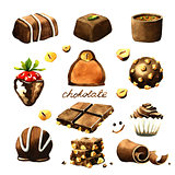 Chocolate watercolor clipart