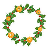 christmas watercolor traditional wreath with oranges,holly berries and leaves on white background.hand drawn illustration.