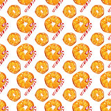 christmas seamless pattern with oranges and candy canes on white background. watercolor holiday illustration.