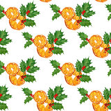 seamless watercolor christmas pattern with oranges,holly berries and leaves. season design for print, card, wrapping paper.