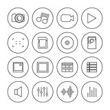 Photo and video icons of thin lines, vector illustration.