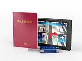 Passport, car key and navigation device