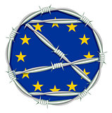 Yellow stars on blue background symbol of European Union behind barbed wire. Migration problem