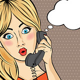 Surprised pop art  woman chating on retro phone . Comic woman wi