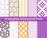 Seamless dot patterns romantic christmas set