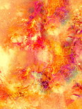 abstract multicolor flower motive collage with dynamic fire effect in space.