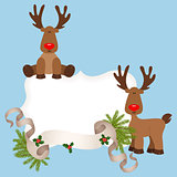 Christmas card with reindeers