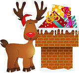 Reindeer on chimney with gifts