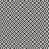 Irregular Maze Lines. Vector Seamless Black and White Pattern.