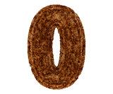 3d bushy bear fur alphabet digit zero null 0 symbol