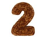 3d bushy bear fur alphabet digit two 2 symbol