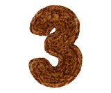 3d bushy bear fur alphabet digit three 3 symbol