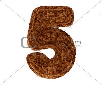 3d bushy bear fur alphabet digit five 5 symbol